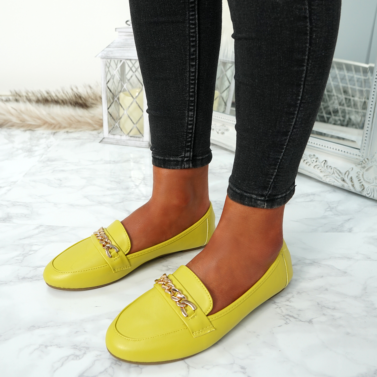 WOMENS-LADIES-CHAIN-SLIP-ON-BALLERINA-LOAFERS-BALLET-DOLLY-PUMPS-SHOES-SIZE thumbnail 53