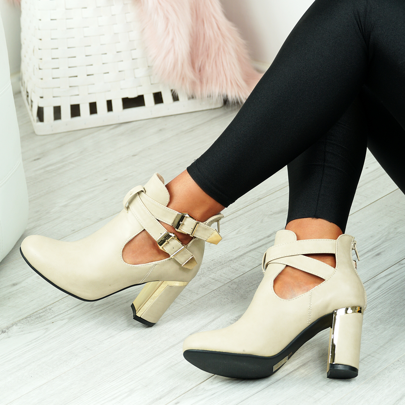 LADIES-WOMENS-BUCKLE-CUT-OUT-ANKLE-BOOTS-HIGH-BLOCK-HEELS-SHOES-SIZE