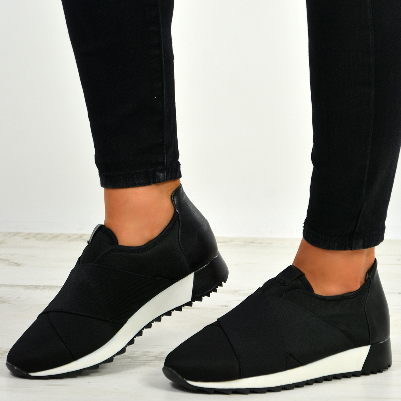 New Womens Ladies Slip On Mesh Pu Trainers Sneakers Casual Comfy Training Shoes