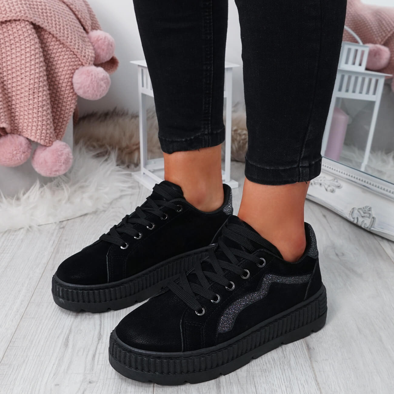 WOMENS-LADIES-LACE-UP-PLATFORM-TRAINERS-PLIMSOLL-SKATE-SNEAKERS-SHOES-SIZE thumbnail 7
