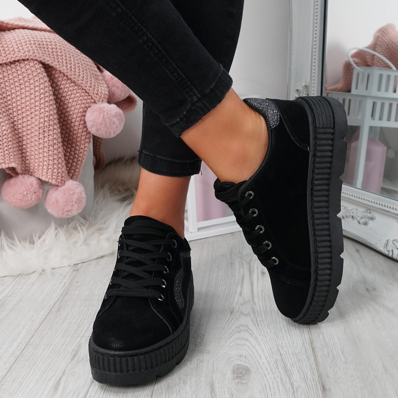 WOMENS-LADIES-LACE-UP-PLATFORM-TRAINERS-PLIMSOLL-SKATE-SNEAKERS-SHOES-SIZE thumbnail 8