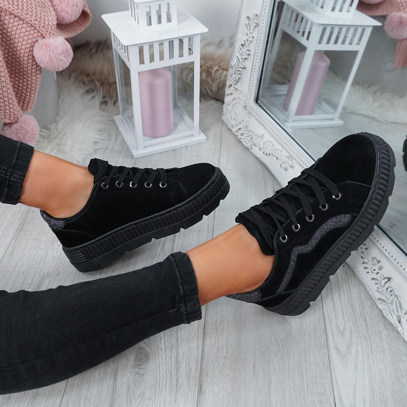 WOMENS-LADIES-LACE-UP-PLATFORM-TRAINERS-PLIMSOLL-SKATE-SNEAKERS-SHOES-SIZE thumbnail 9