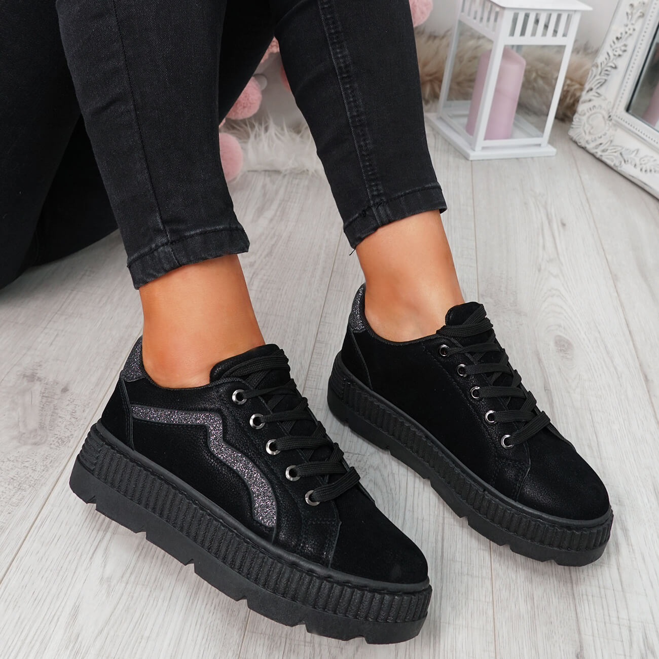 WOMENS-LADIES-LACE-UP-PLATFORM-TRAINERS-PLIMSOLL-SKATE-SNEAKERS-SHOES-SIZE thumbnail 10