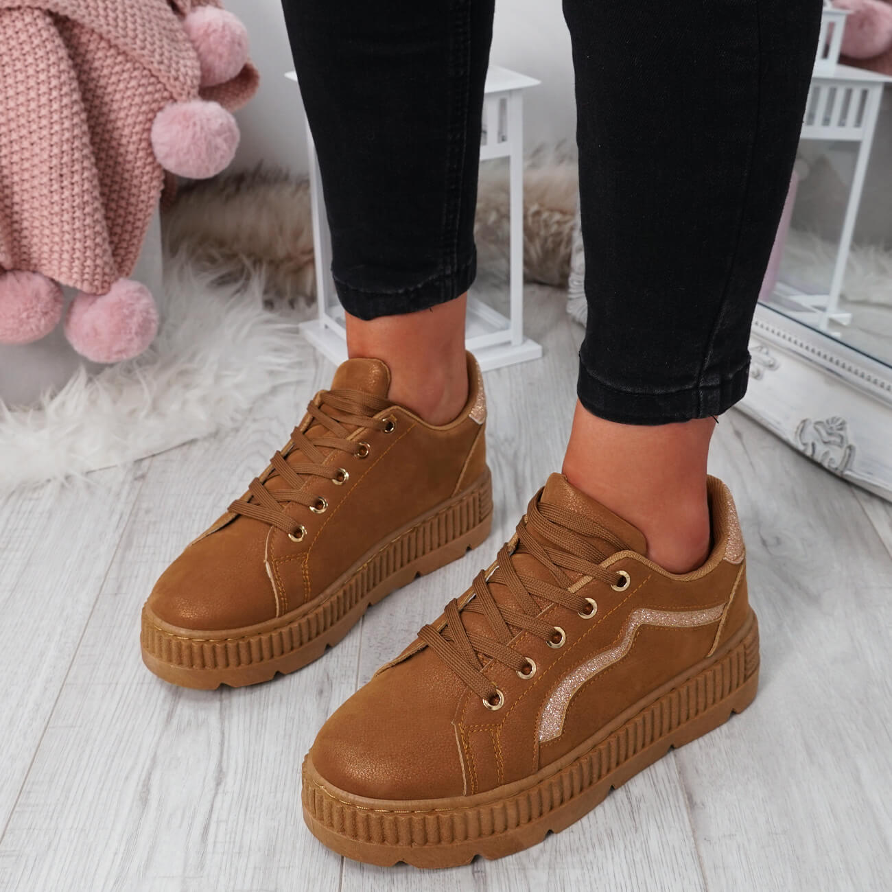 WOMENS-LADIES-LACE-UP-PLATFORM-TRAINERS-PLIMSOLL-SKATE-SNEAKERS-SHOES-SIZE thumbnail 12