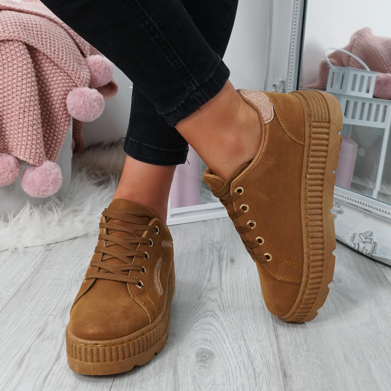 WOMENS-LADIES-LACE-UP-PLATFORM-TRAINERS-PLIMSOLL-SKATE-SNEAKERS-SHOES-SIZE thumbnail 13