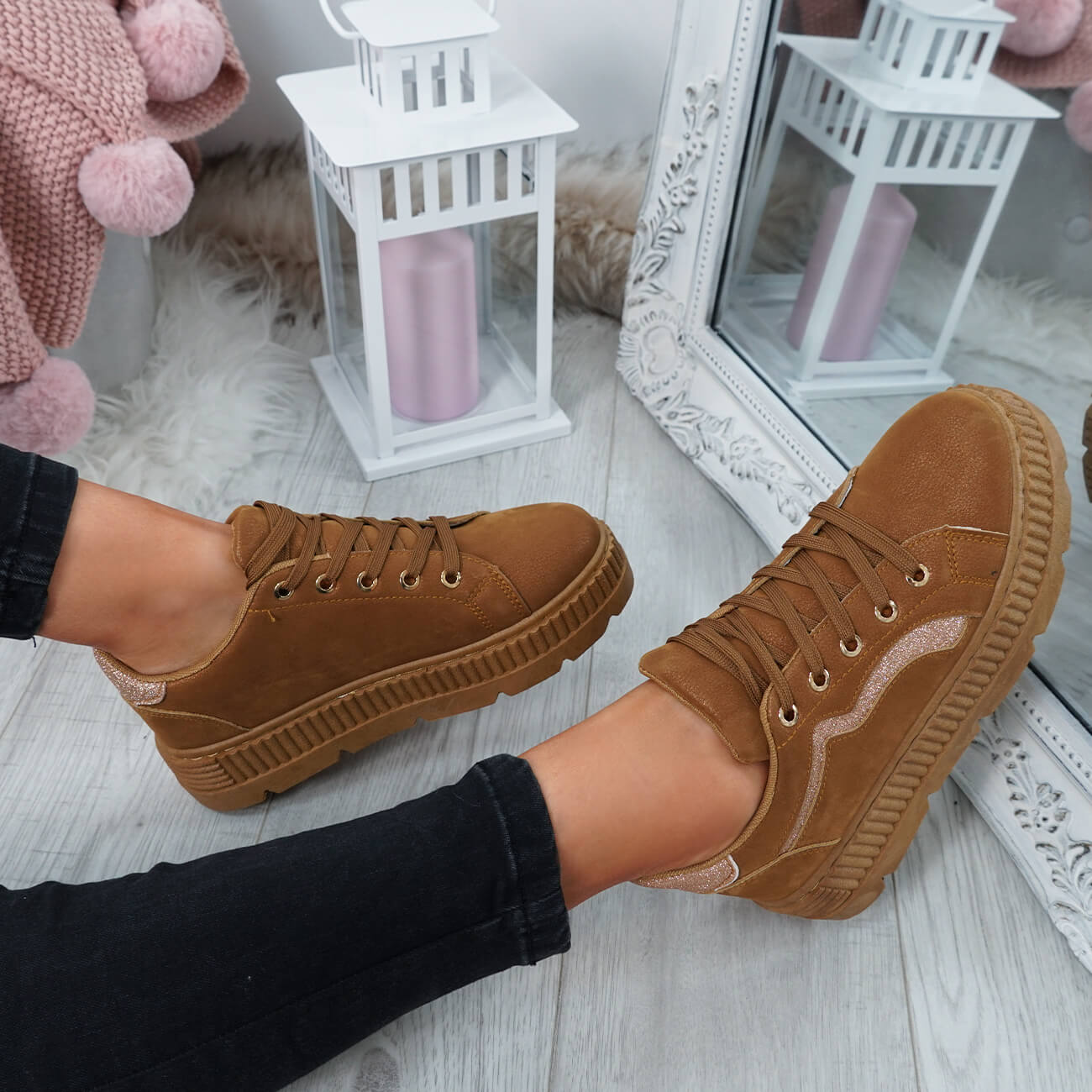 WOMENS-LADIES-LACE-UP-PLATFORM-TRAINERS-PLIMSOLL-SKATE-SNEAKERS-SHOES-SIZE thumbnail 14