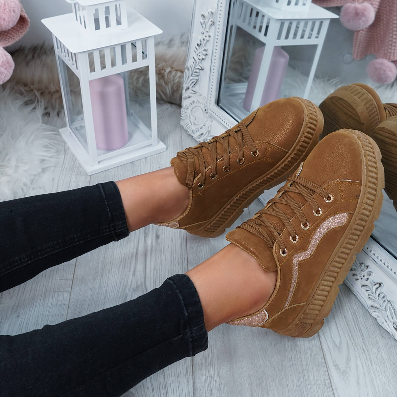 WOMENS-LADIES-LACE-UP-PLATFORM-TRAINERS-PLIMSOLL-SKATE-SNEAKERS-SHOES-SIZE thumbnail 15