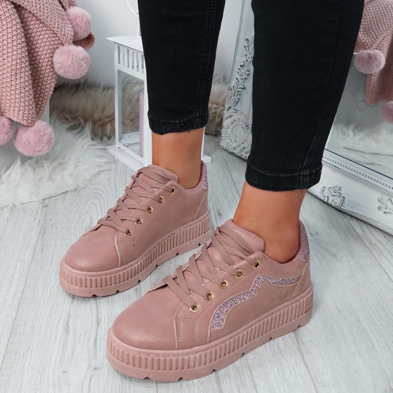 WOMENS-LADIES-LACE-UP-PLATFORM-TRAINERS-PLIMSOLL-SKATE-SNEAKERS-SHOES-SIZE thumbnail 22