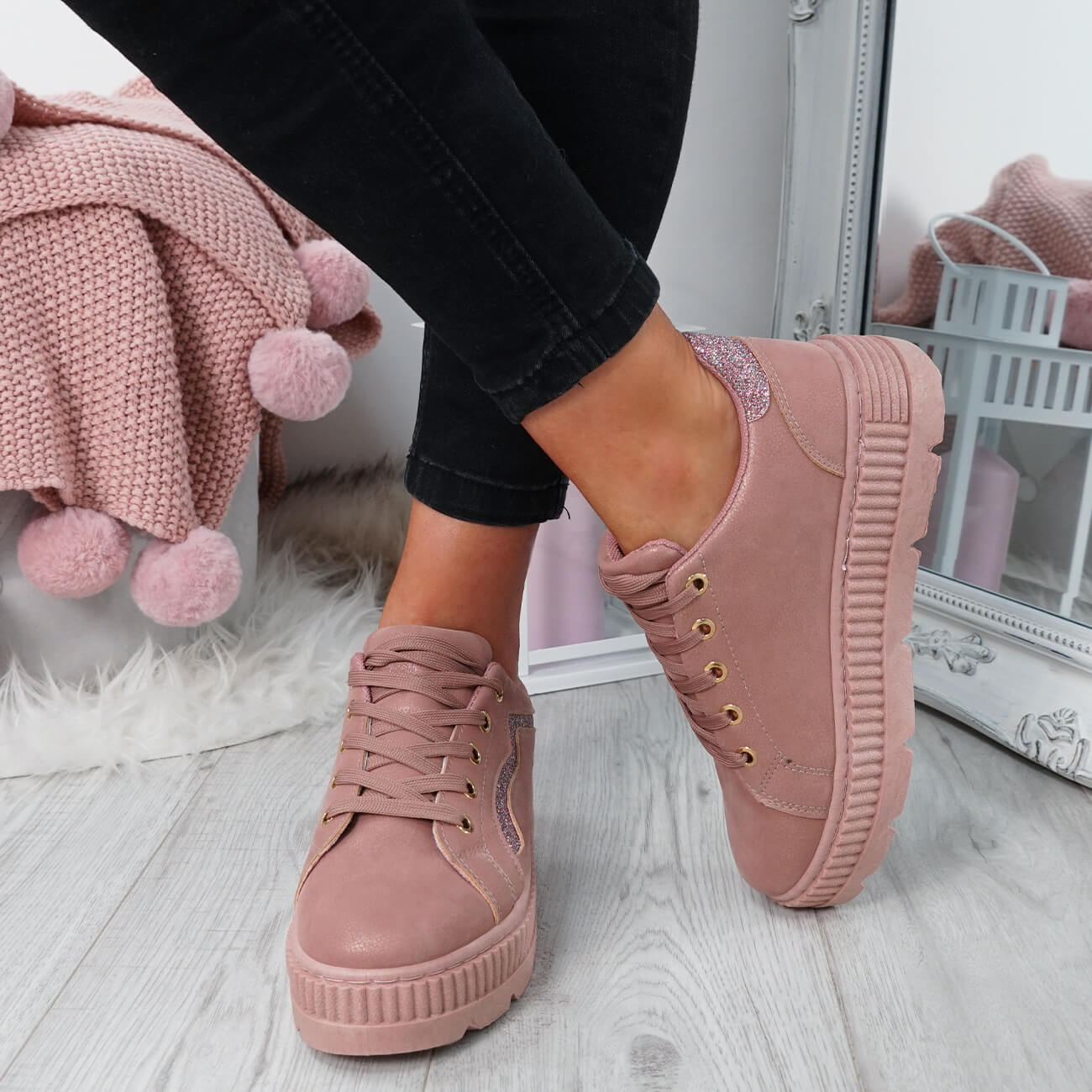 WOMENS-LADIES-LACE-UP-PLATFORM-TRAINERS-PLIMSOLL-SKATE-SNEAKERS-SHOES-SIZE thumbnail 23