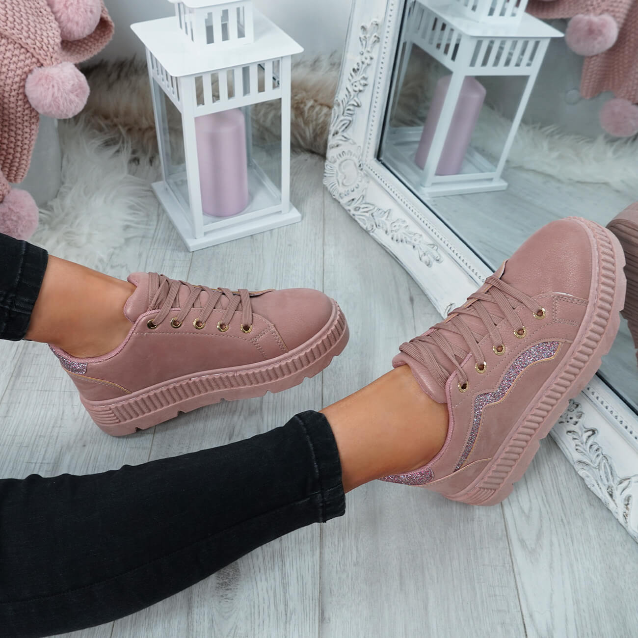 WOMENS-LADIES-LACE-UP-PLATFORM-TRAINERS-PLIMSOLL-SKATE-SNEAKERS-SHOES-SIZE thumbnail 24