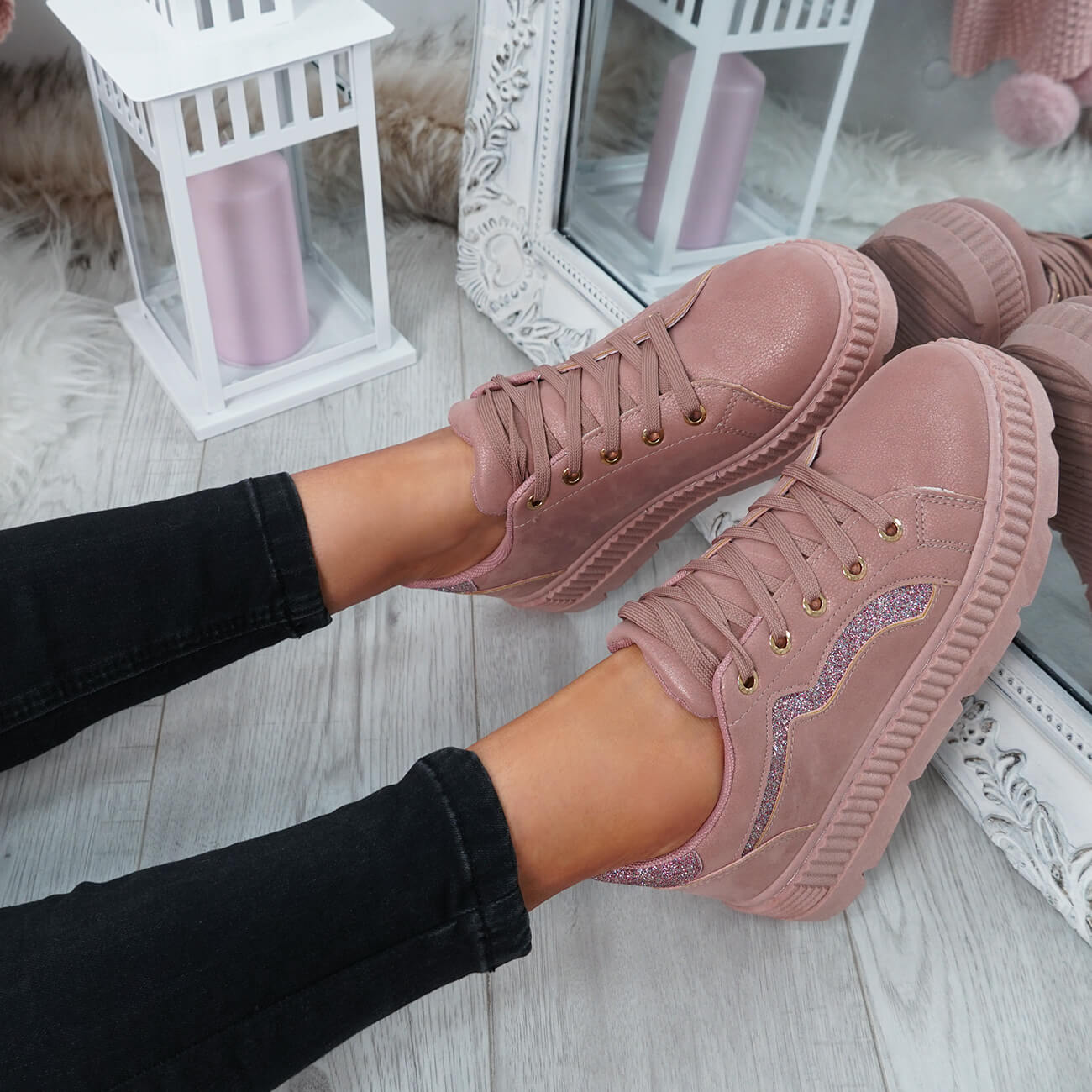 WOMENS-LADIES-LACE-UP-PLATFORM-TRAINERS-PLIMSOLL-SKATE-SNEAKERS-SHOES-SIZE thumbnail 25