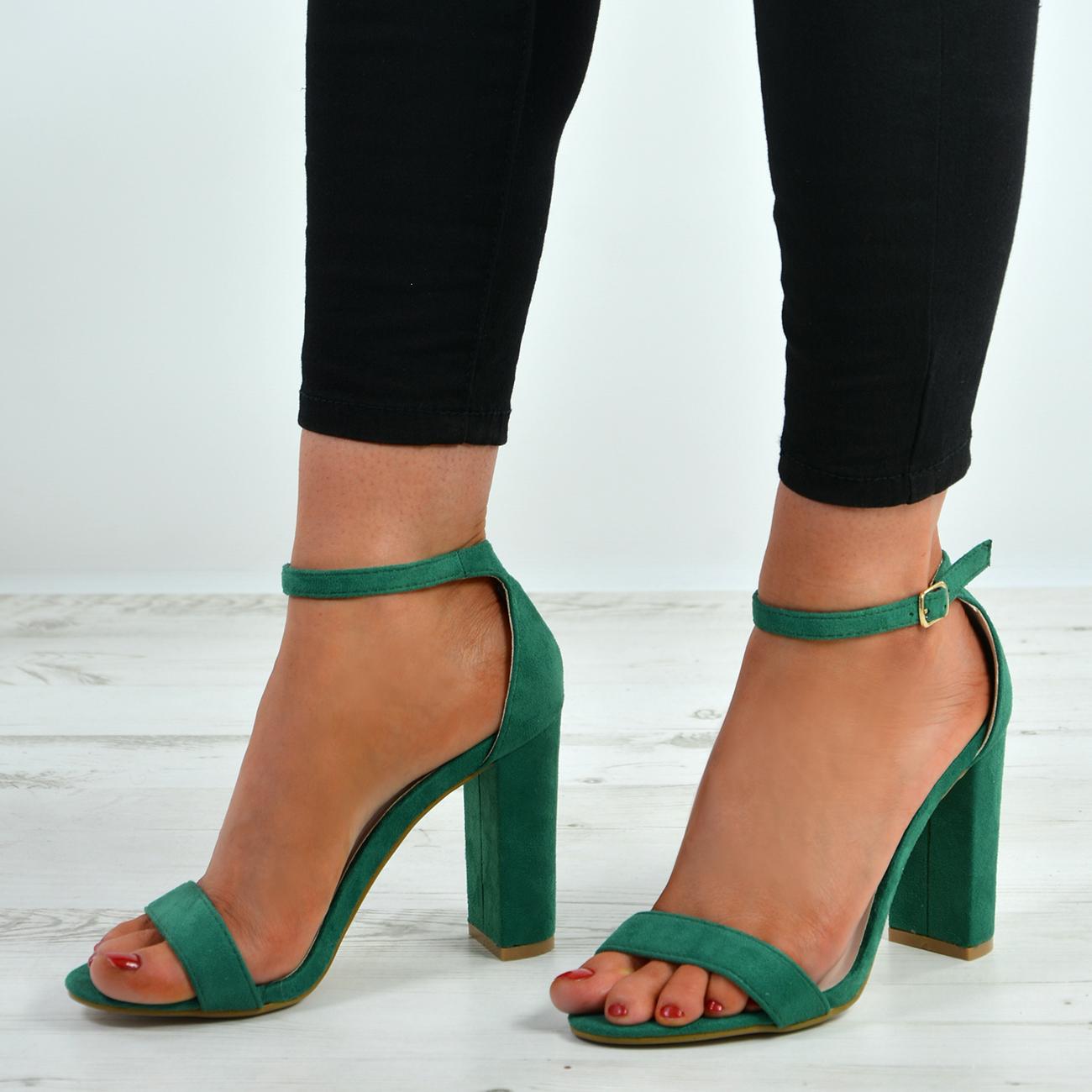 1991d80a52d New Womens Ankle Strap Block Heel Sandals Peep Toe Ladies Shoes Size ...