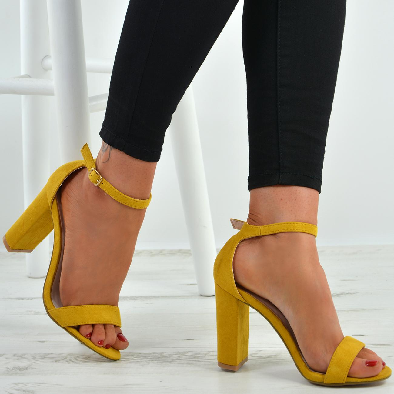 c2784e5bbaf New Womens Ankle Strap Block Heel Sandals Peep Toe Ladies Shoes Size ...