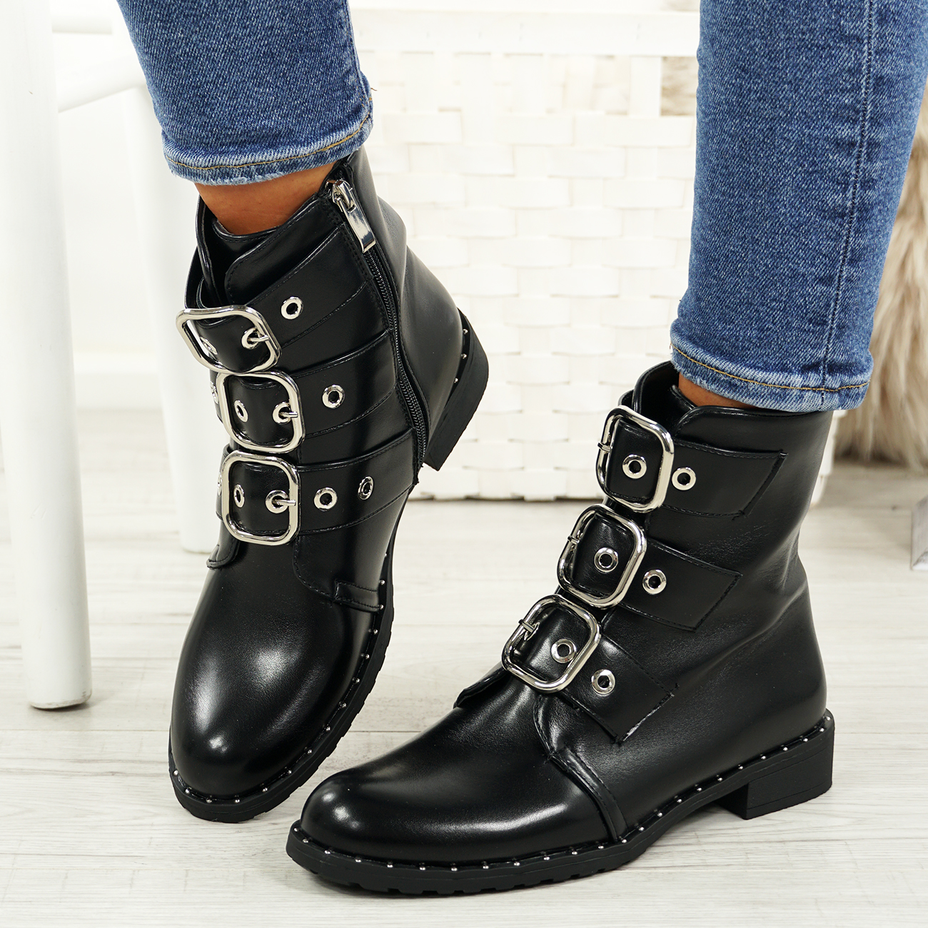 LADIES-WOMENS-BIKER-ANKLE-BOOTS-ZIP-STUDDED-LOW-HEEL-COMFY-SHOES-SIZES thumbnail 7