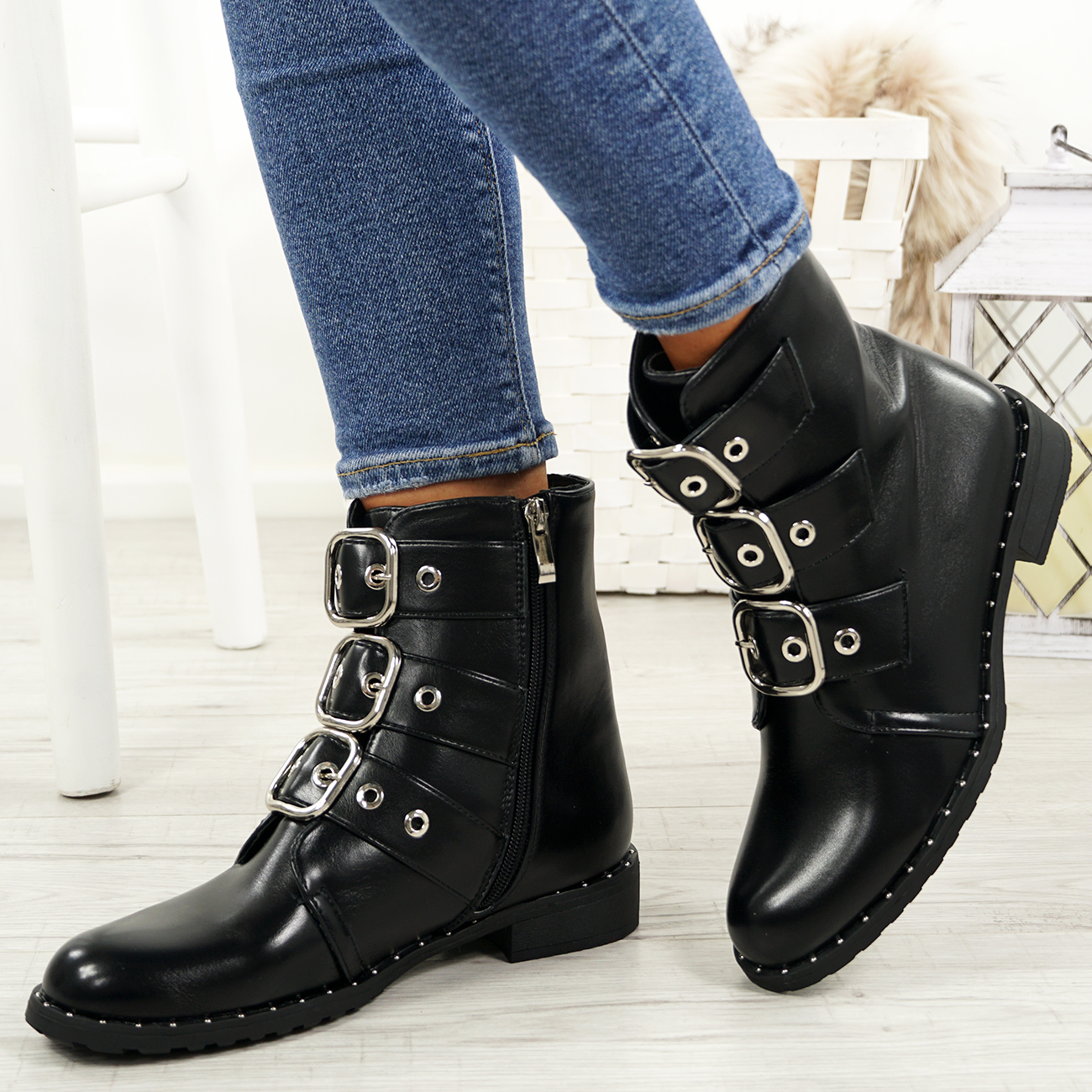 LADIES-WOMENS-BIKER-ANKLE-BOOTS-ZIP-STUDDED-LOW-HEEL-COMFY-SHOES-SIZES thumbnail 10