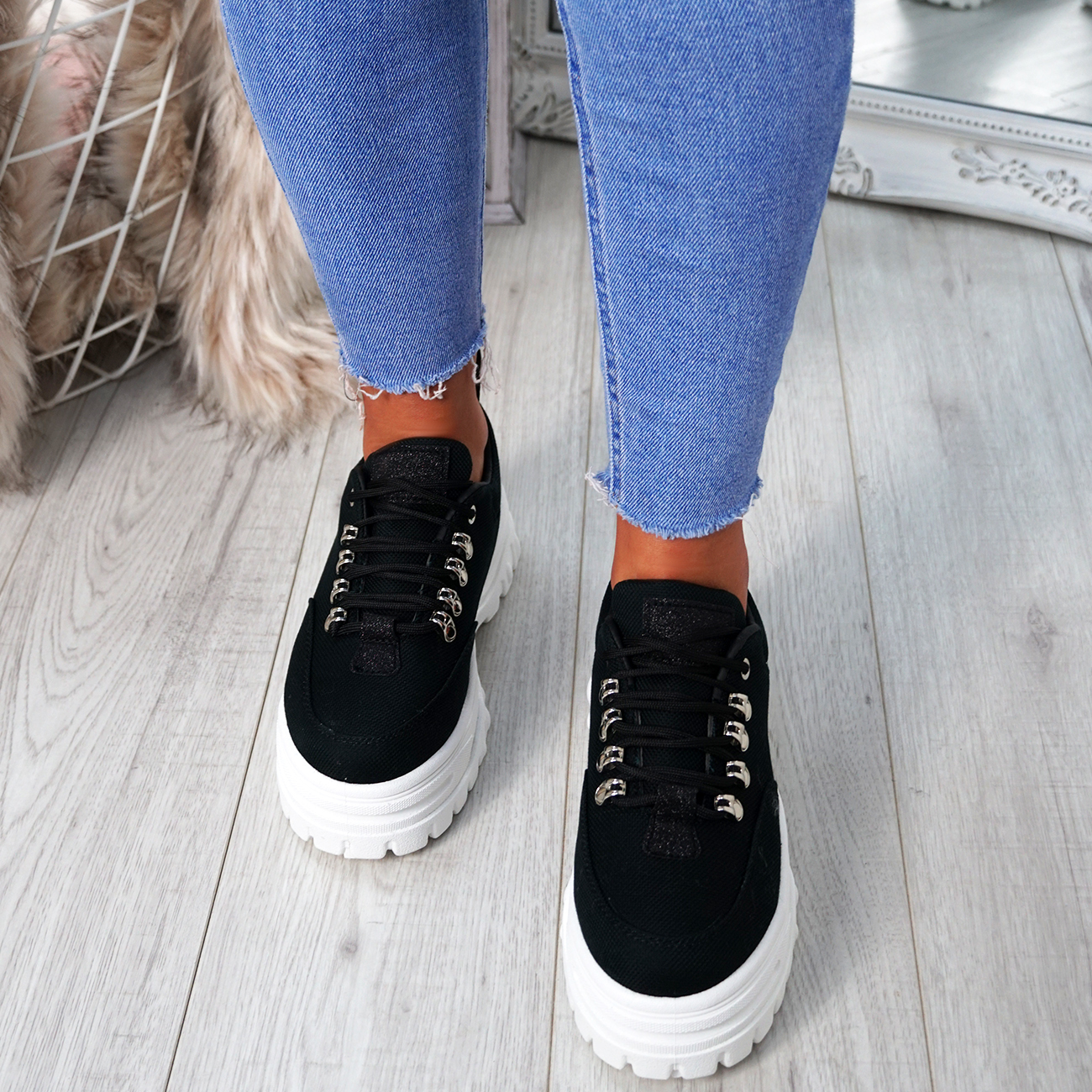 8a9eadc029b WOMENS LADIES PLATFORM TRAINERS LACE UP SNEAKERS PLIMSOLLS COMFY ...