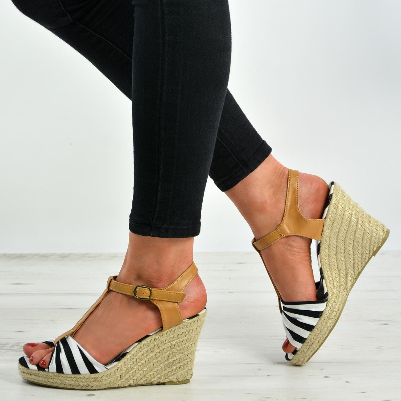 2ae9883ed18 Womens Ladies Ankle Strap Espadrille Wedge Heel Platform Sandals ...