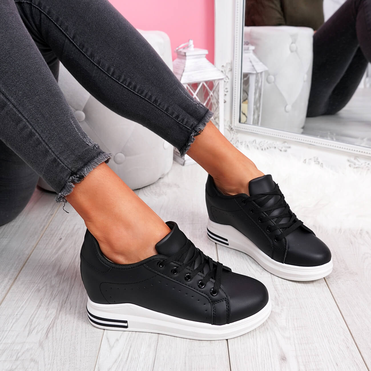 WOMENS-LADIES-LACE-UP-WEDGE-TRAINERS-HEEL-SNEAKERS-SHINY-PARTY-WOMEN-SHOES thumbnail 7