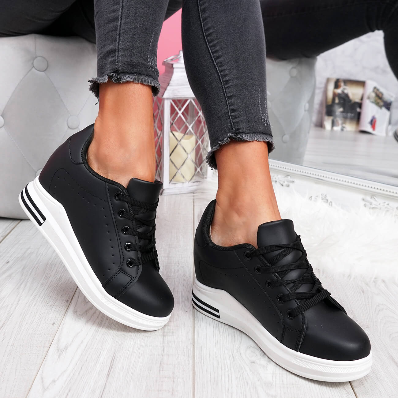 WOMENS-LADIES-LACE-UP-WEDGE-TRAINERS-HEEL-SNEAKERS-SHINY-PARTY-WOMEN-SHOES thumbnail 8