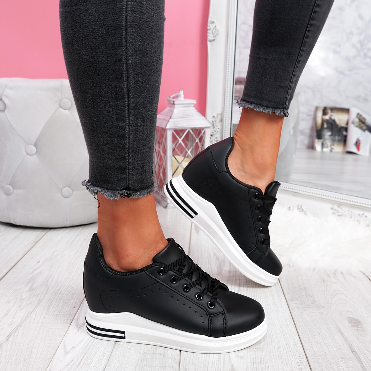 WOMENS-LADIES-LACE-UP-WEDGE-TRAINERS-HEEL-SNEAKERS-SHINY-PARTY-WOMEN-SHOES thumbnail 9