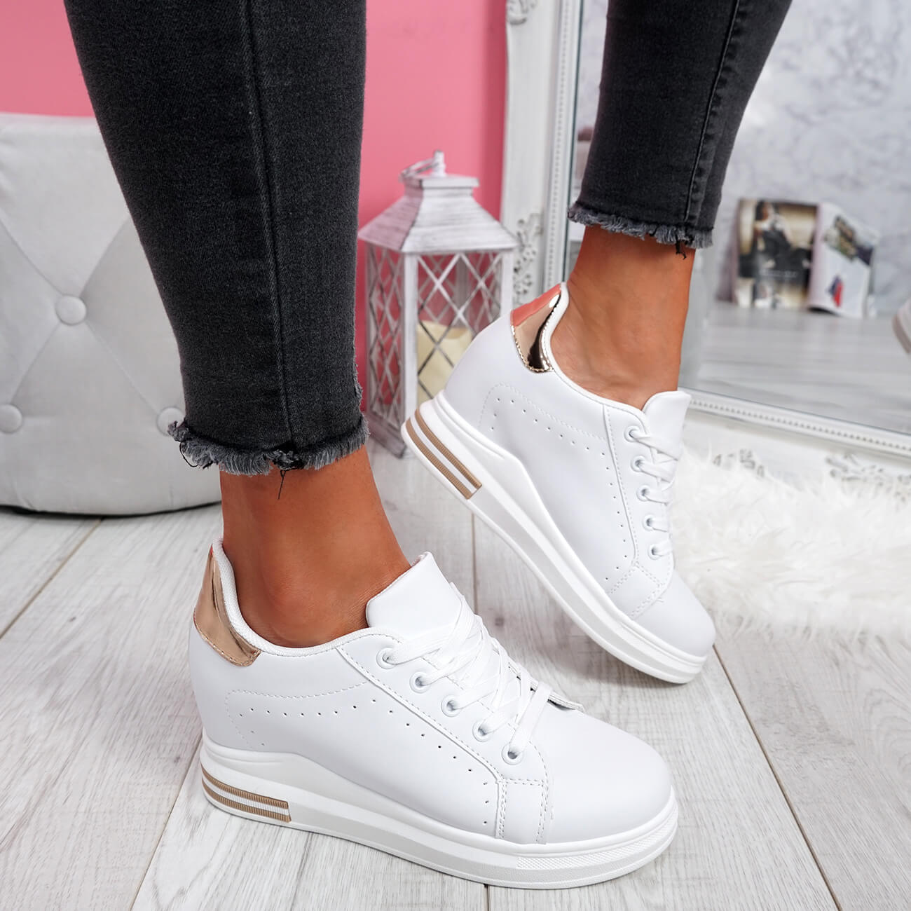 WOMENS-LADIES-LACE-UP-WEDGE-TRAINERS-HEEL-SNEAKERS-SHINY-PARTY-WOMEN-SHOES thumbnail 20