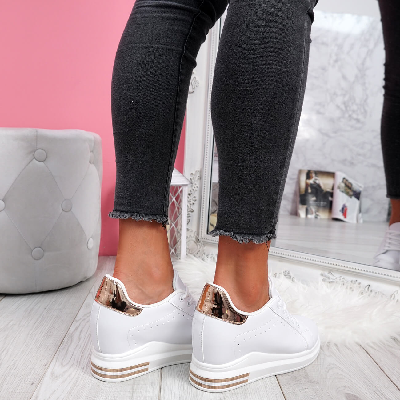 WOMENS-LADIES-LACE-UP-WEDGE-TRAINERS-HEEL-SNEAKERS-SHINY-PARTY-WOMEN-SHOES thumbnail 21
