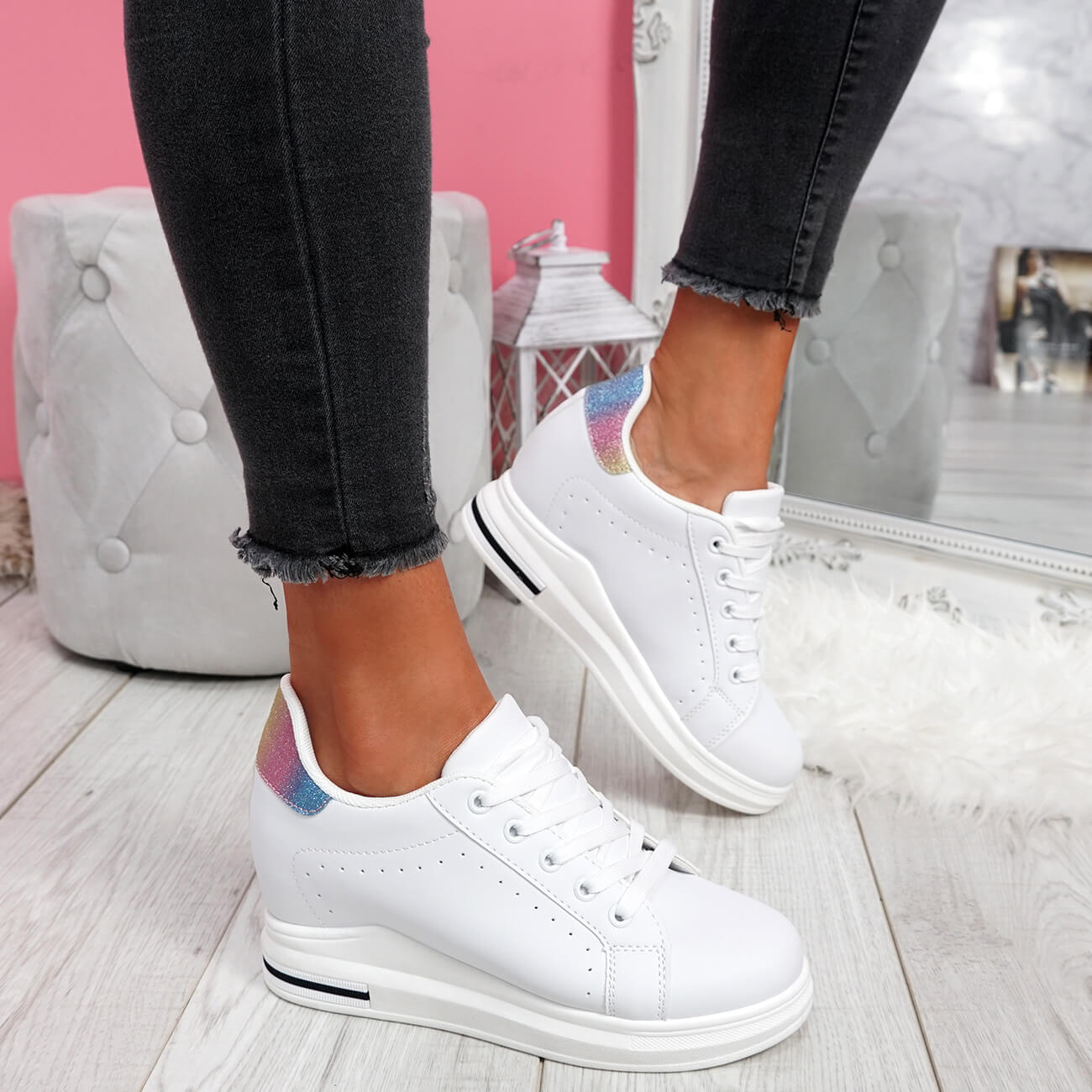 WOMENS-LADIES-LACE-UP-WEDGE-TRAINERS-HEEL-SNEAKERS-SHINY-PARTY-WOMEN-SHOES thumbnail 23