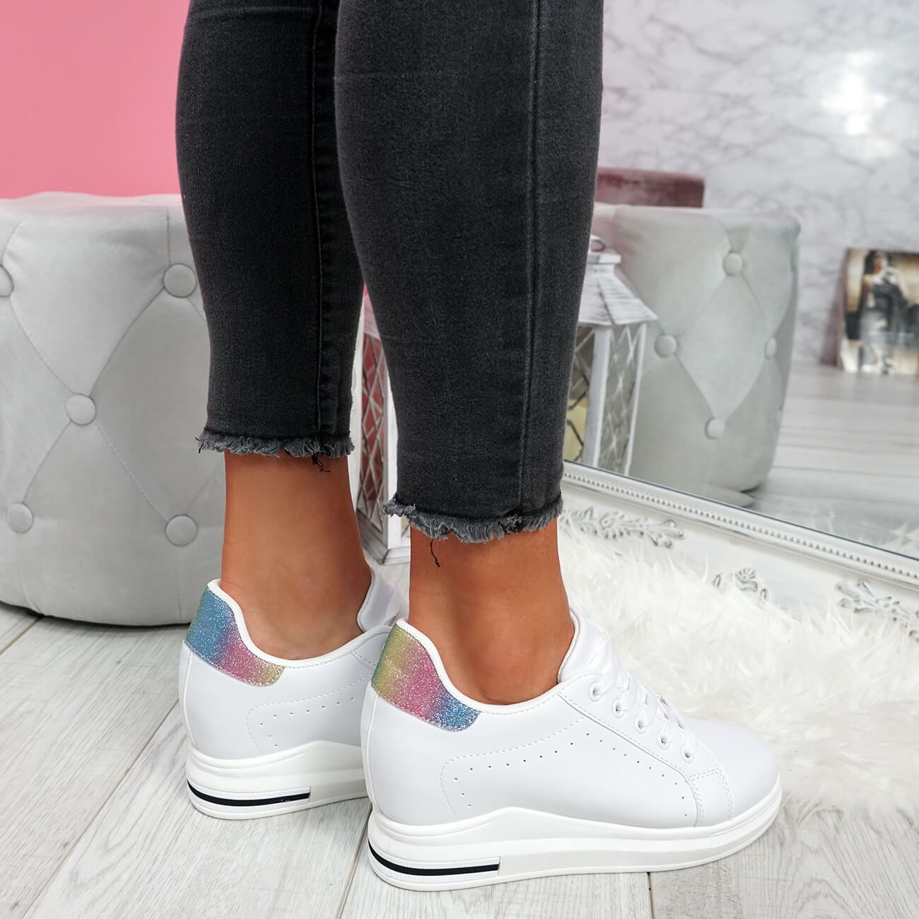 WOMENS-LADIES-LACE-UP-WEDGE-TRAINERS-HEEL-SNEAKERS-SHINY-PARTY-WOMEN-SHOES thumbnail 25