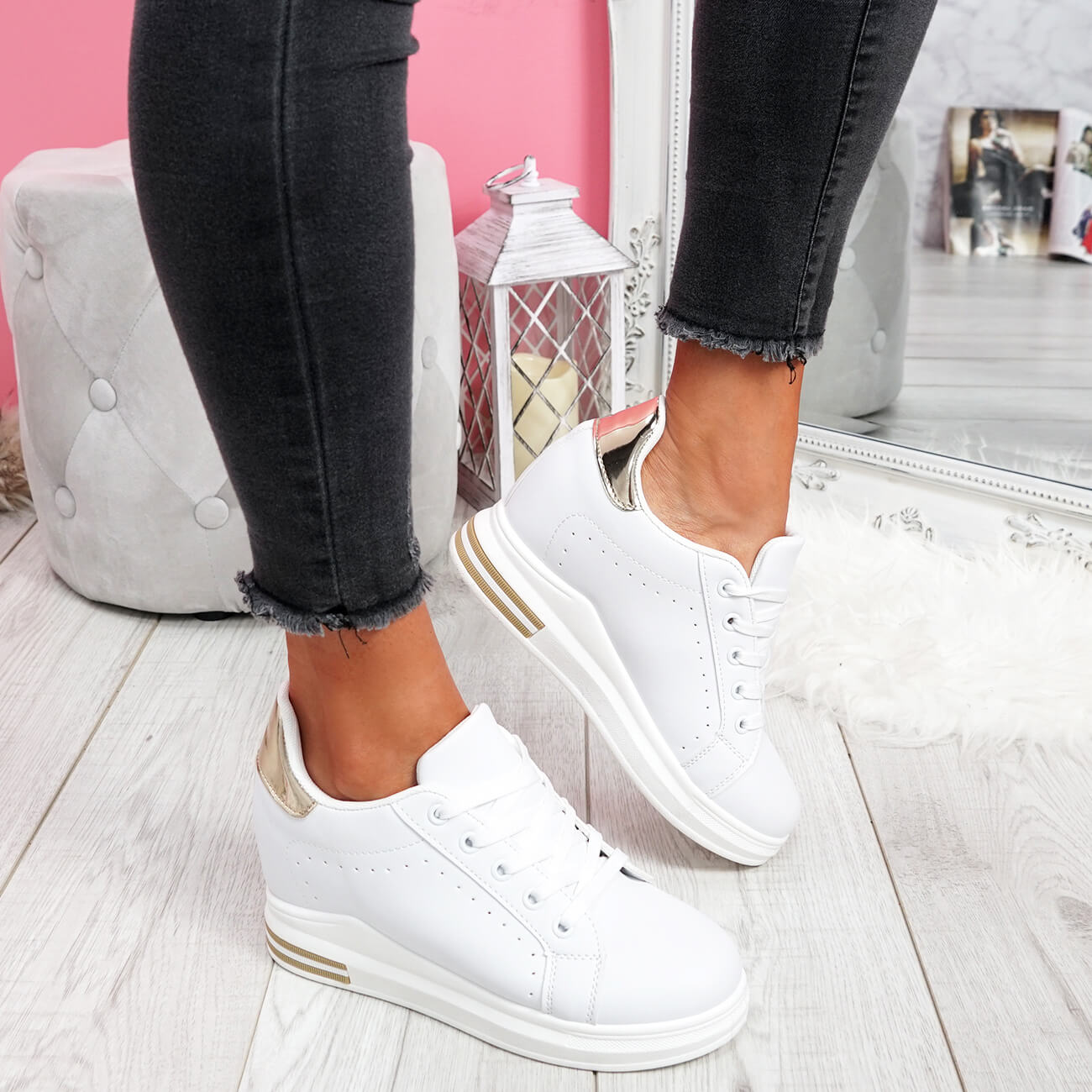 WOMENS-LADIES-LACE-UP-WEDGE-TRAINERS-HEEL-SNEAKERS-SHINY-PARTY-WOMEN-SHOES thumbnail 28
