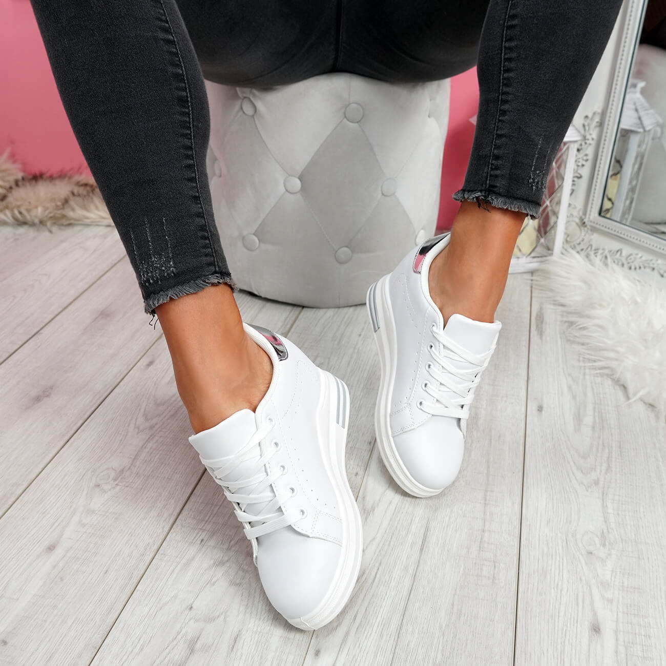 WOMENS-LADIES-LACE-UP-WEDGE-TRAINERS-HEEL-SNEAKERS-SHINY-PARTY-WOMEN-SHOES thumbnail 15