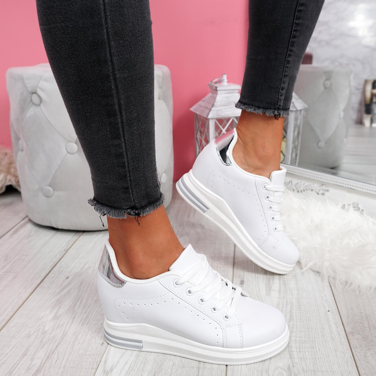 WOMENS-LADIES-LACE-UP-WEDGE-TRAINERS-HEEL-SNEAKERS-SHINY-PARTY-WOMEN-SHOES thumbnail 16