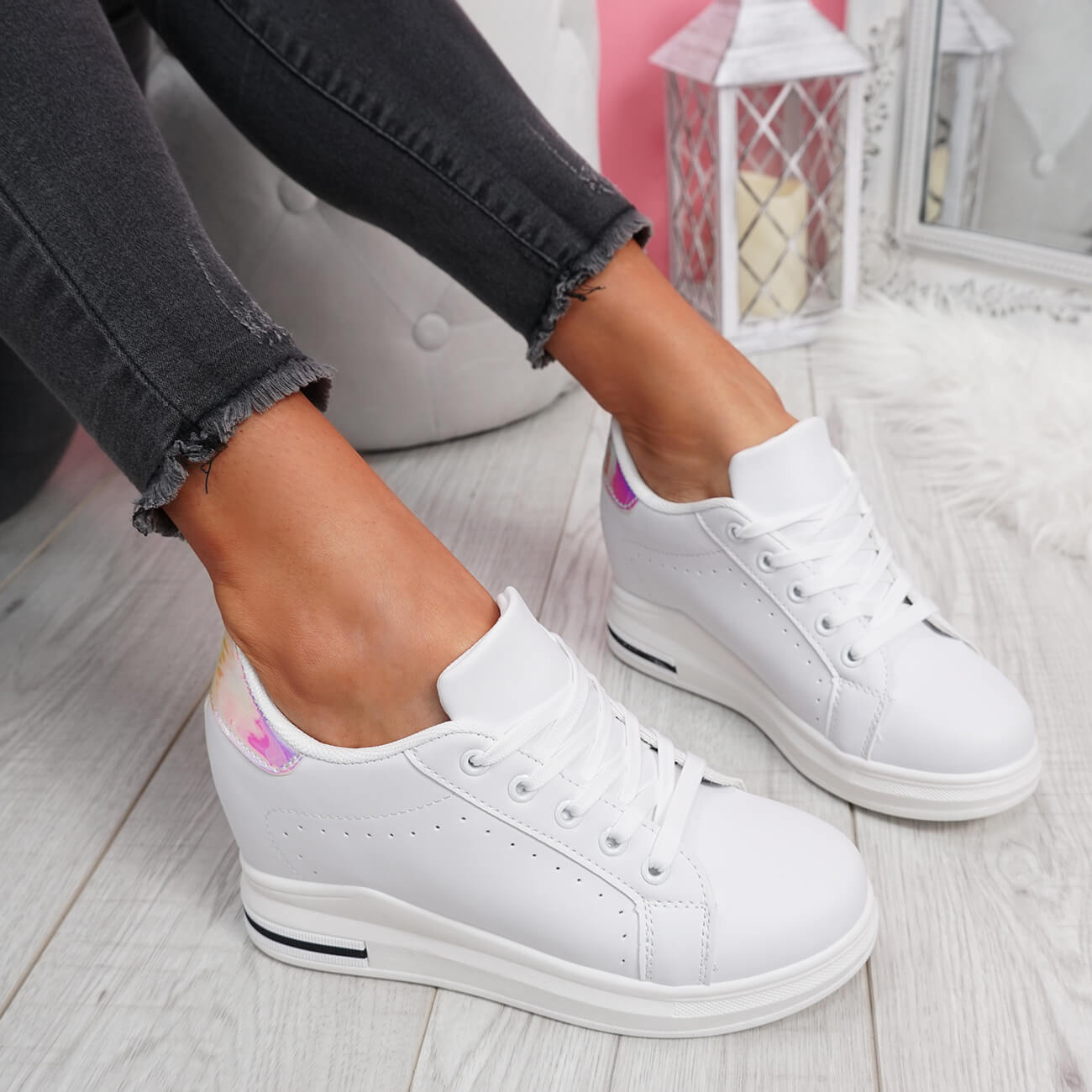WOMENS-LADIES-LACE-UP-WEDGE-TRAINERS-HEEL-SNEAKERS-SHINY-PARTY-WOMEN-SHOES thumbnail 11