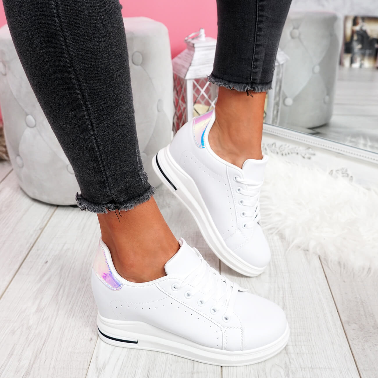 WOMENS-LADIES-LACE-UP-WEDGE-TRAINERS-HEEL-SNEAKERS-SHINY-PARTY-WOMEN-SHOES thumbnail 13