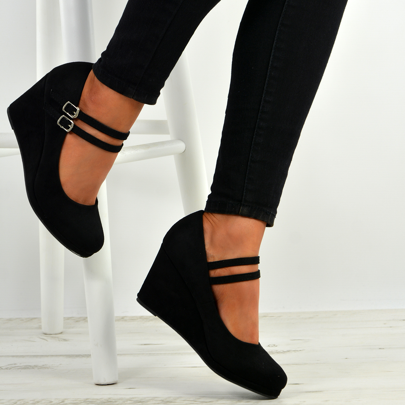 dd1ad3f9f4 Womens Ladies High Wedge Heel Pumps Platform Double Strap Shoes Size ...