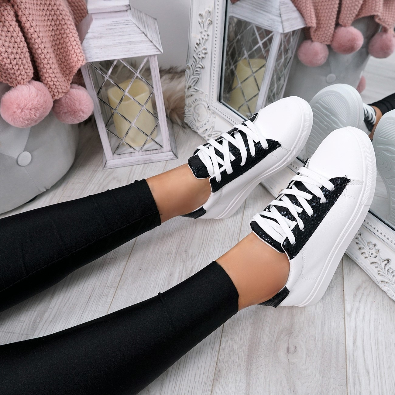 WOMENS-LADIES-SNAKE-SKIN-GLITTER-LACE-UP-TRAINERS-PLIMSOLLS-SNEAKERS-SHOES thumbnail 7