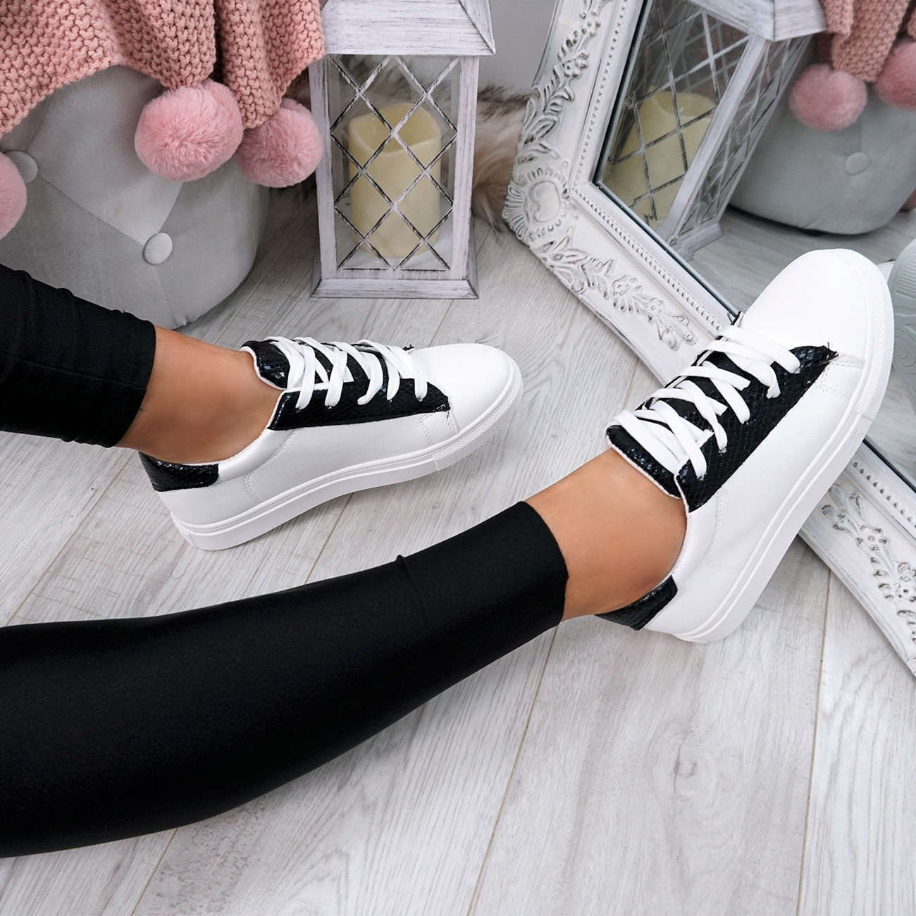 WOMENS-LADIES-SNAKE-SKIN-GLITTER-LACE-UP-TRAINERS-PLIMSOLLS-SNEAKERS-SHOES thumbnail 8