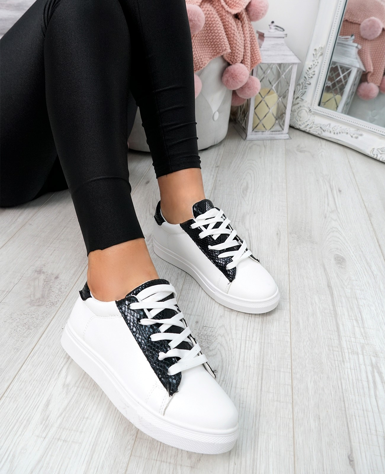 WOMENS-LADIES-SNAKE-SKIN-GLITTER-LACE-UP-TRAINERS-PLIMSOLLS-SNEAKERS-SHOES thumbnail 9