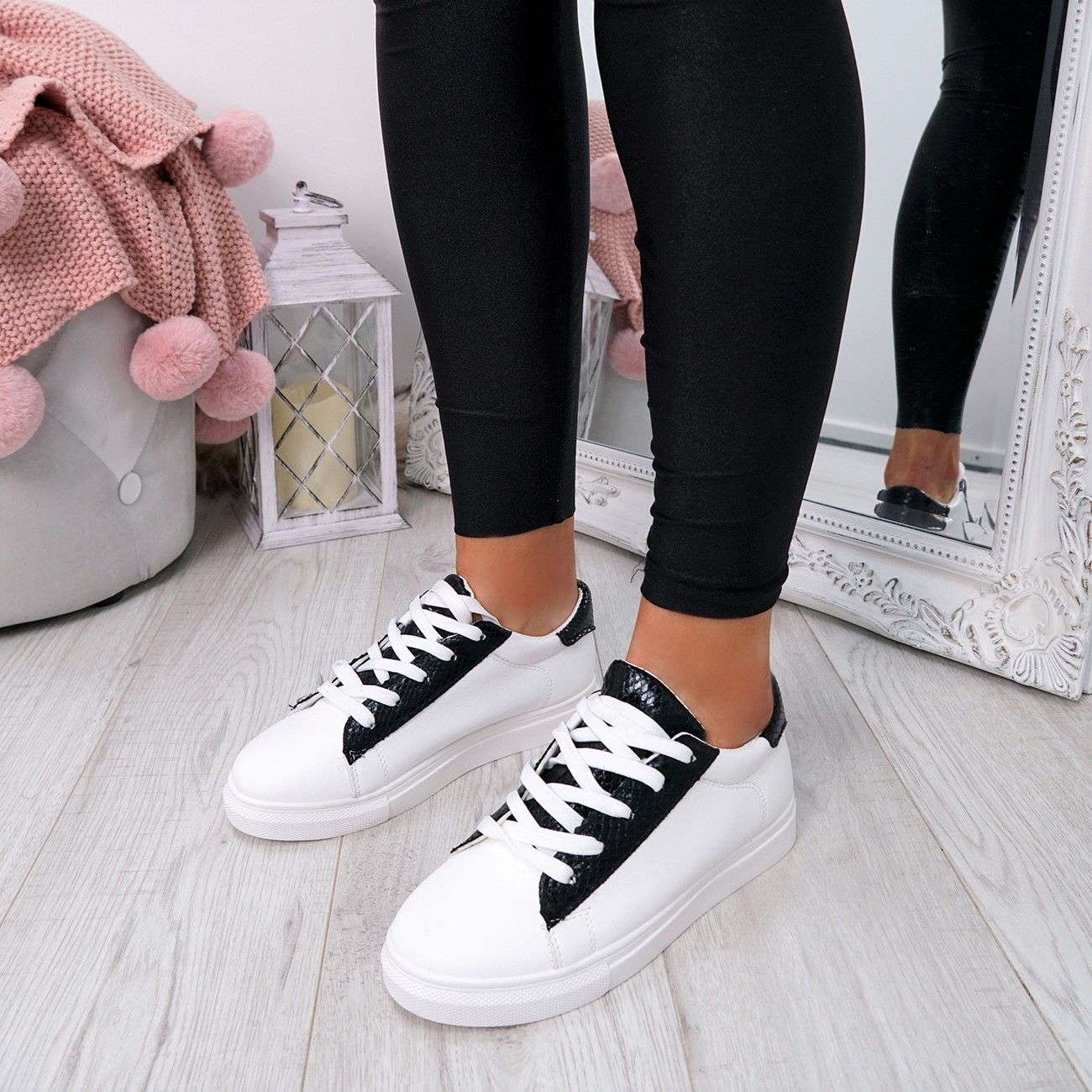 WOMENS-LADIES-SNAKE-SKIN-GLITTER-LACE-UP-TRAINERS-PLIMSOLLS-SNEAKERS-SHOES thumbnail 10