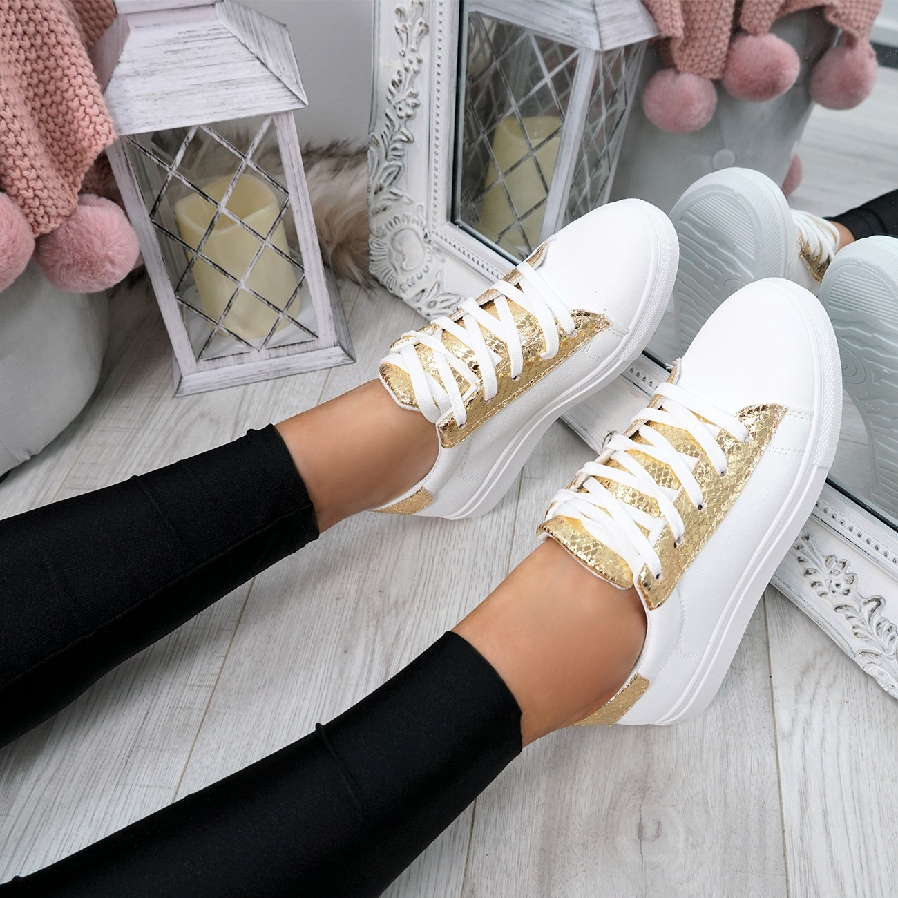 WOMENS-LADIES-SNAKE-SKIN-GLITTER-LACE-UP-TRAINERS-PLIMSOLLS-SNEAKERS-SHOES thumbnail 12