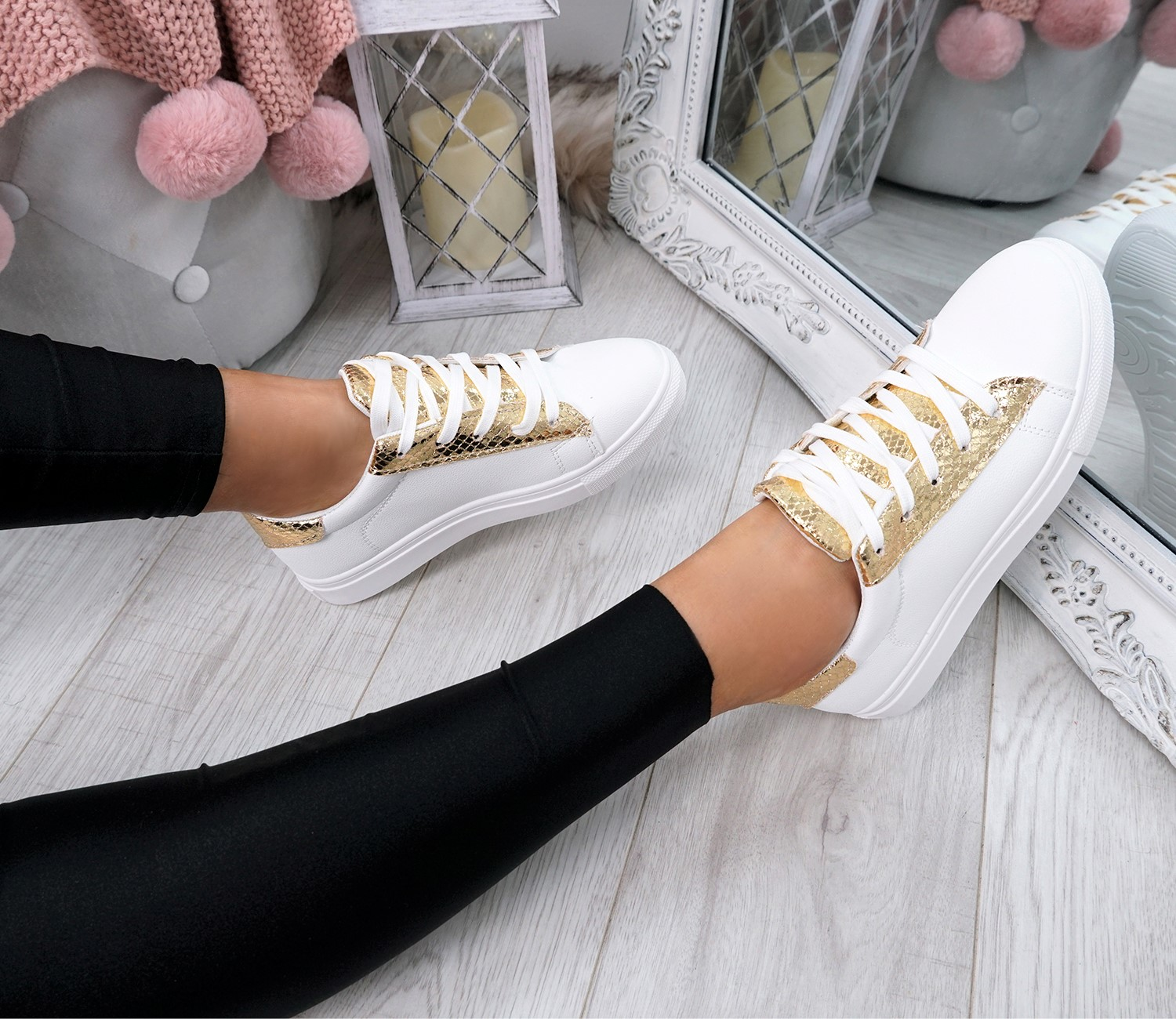 WOMENS-LADIES-SNAKE-SKIN-GLITTER-LACE-UP-TRAINERS-PLIMSOLLS-SNEAKERS-SHOES thumbnail 13
