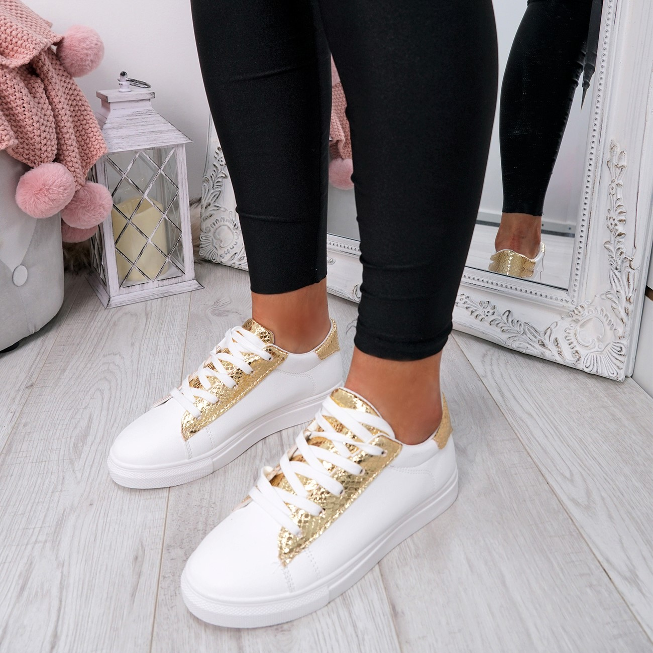 WOMENS-LADIES-SNAKE-SKIN-GLITTER-LACE-UP-TRAINERS-PLIMSOLLS-SNEAKERS-SHOES thumbnail 15