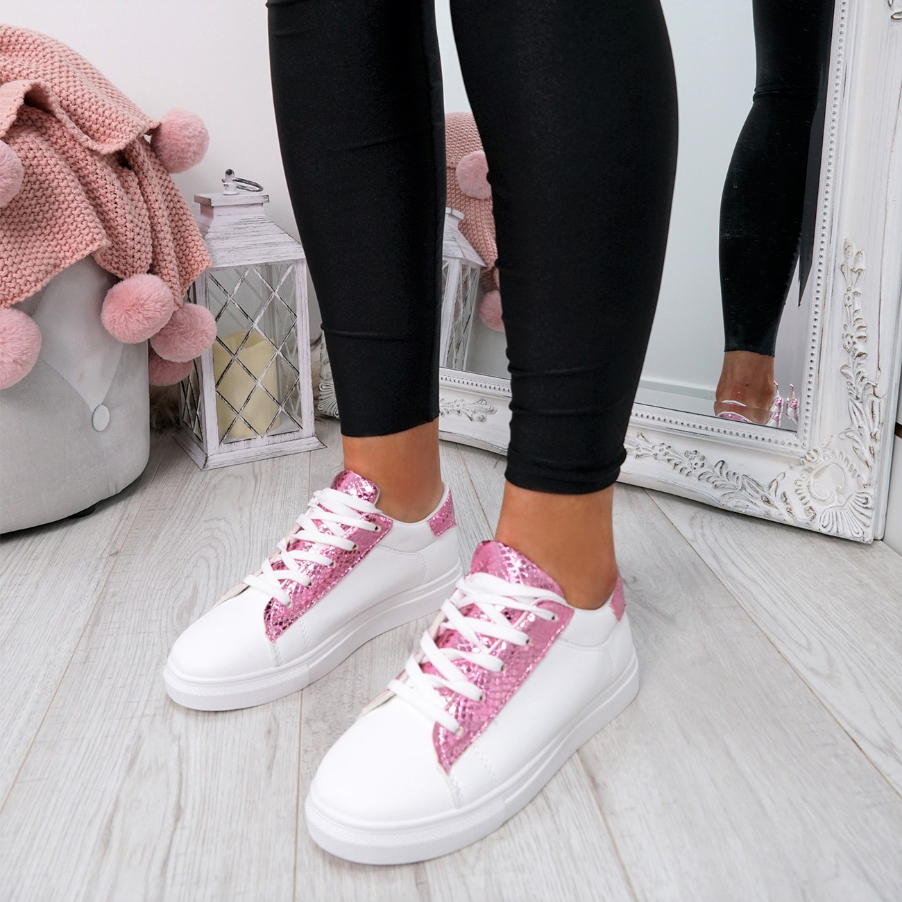 WOMENS-LADIES-SNAKE-SKIN-GLITTER-LACE-UP-TRAINERS-PLIMSOLLS-SNEAKERS-SHOES thumbnail 17
