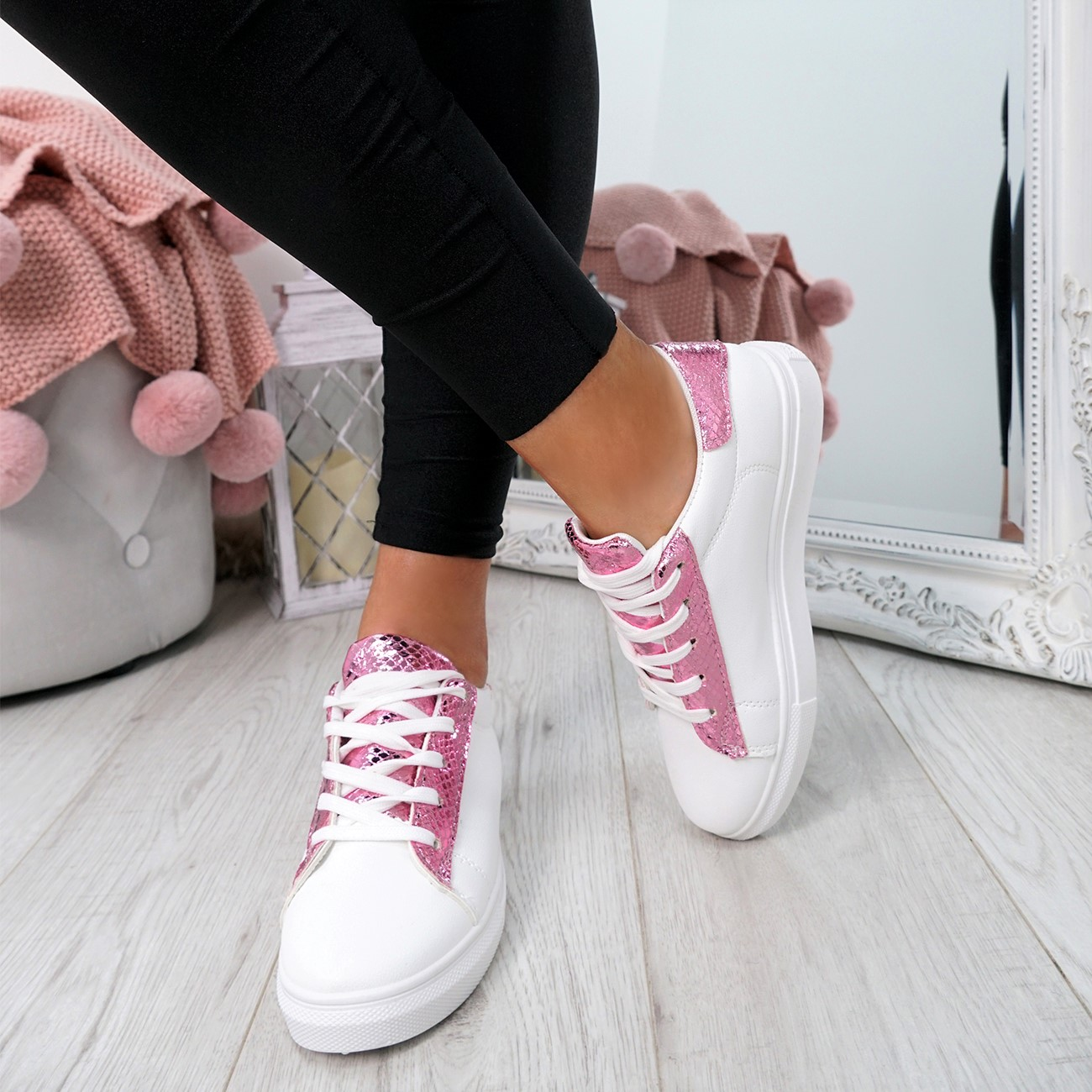 WOMENS-LADIES-SNAKE-SKIN-GLITTER-LACE-UP-TRAINERS-PLIMSOLLS-SNEAKERS-SHOES thumbnail 18