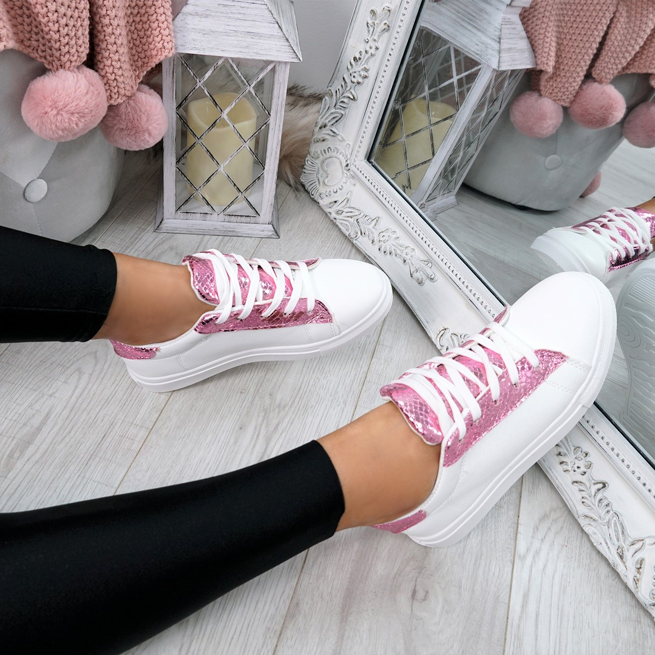 WOMENS-LADIES-SNAKE-SKIN-GLITTER-LACE-UP-TRAINERS-PLIMSOLLS-SNEAKERS-SHOES thumbnail 20