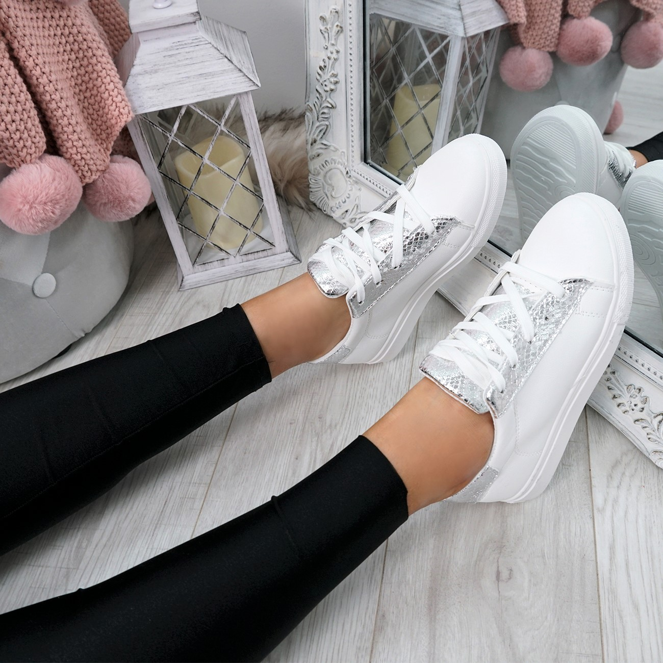 WOMENS-LADIES-SNAKE-SKIN-GLITTER-LACE-UP-TRAINERS-PLIMSOLLS-SNEAKERS-SHOES thumbnail 22