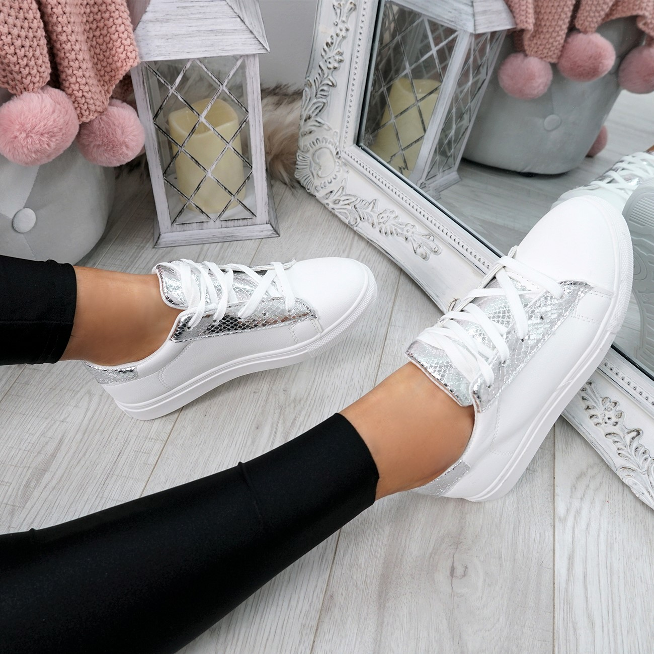 WOMENS-LADIES-SNAKE-SKIN-GLITTER-LACE-UP-TRAINERS-PLIMSOLLS-SNEAKERS-SHOES thumbnail 23