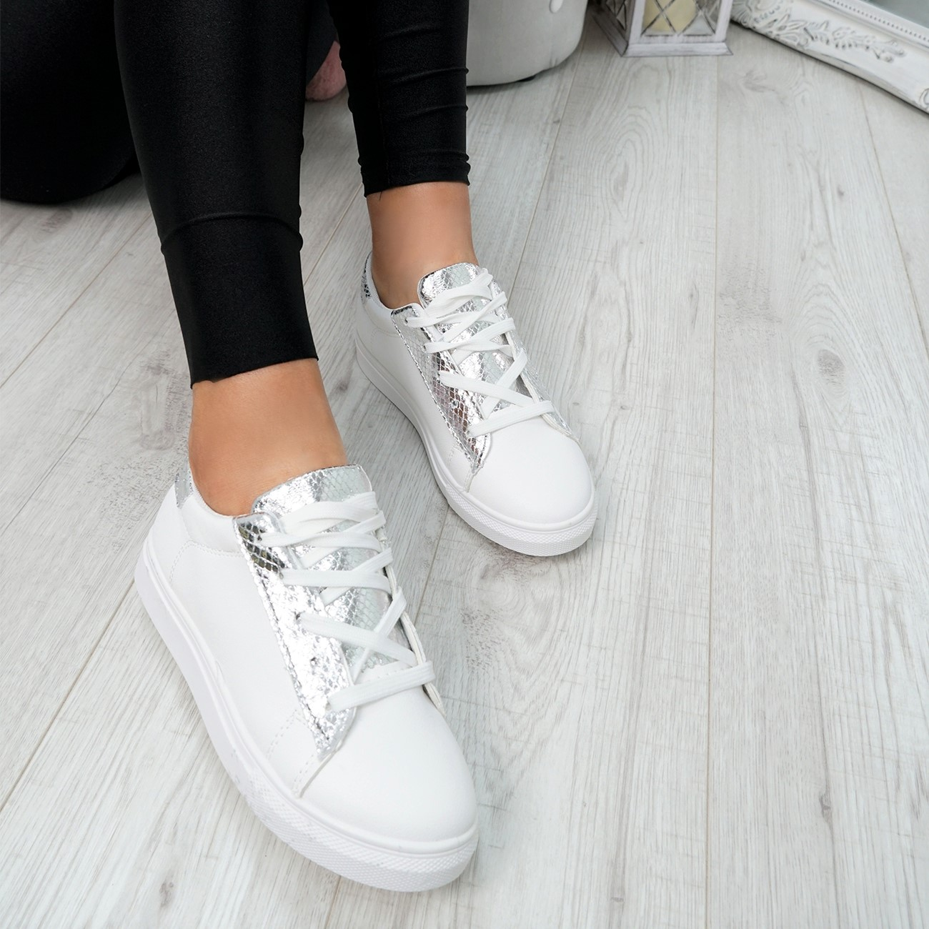 WOMENS-LADIES-SNAKE-SKIN-GLITTER-LACE-UP-TRAINERS-PLIMSOLLS-SNEAKERS-SHOES thumbnail 24