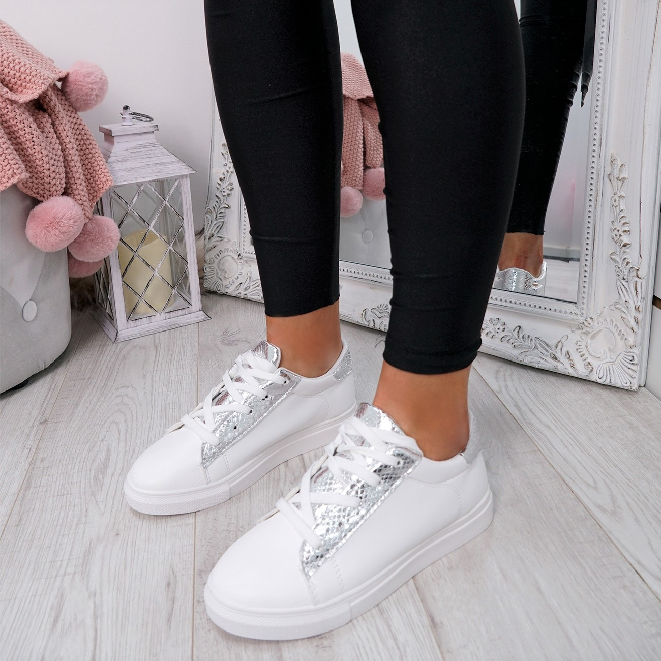 WOMENS-LADIES-SNAKE-SKIN-GLITTER-LACE-UP-TRAINERS-PLIMSOLLS-SNEAKERS-SHOES thumbnail 25
