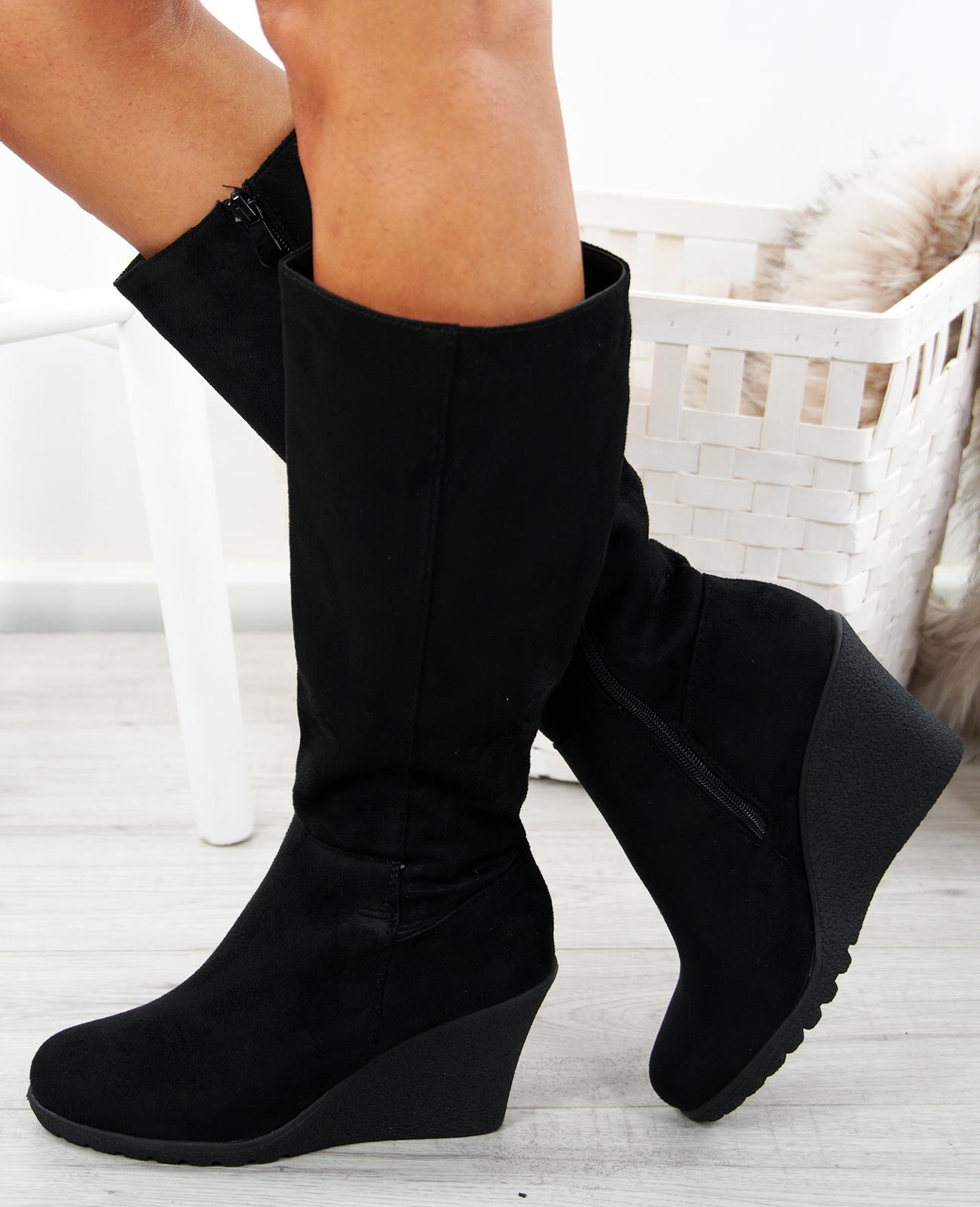 a98dba9a527 WOMENS WEDGE BOOTS LADIES LONG KNEE HIGH BOOT PLATFORM WINTER ...