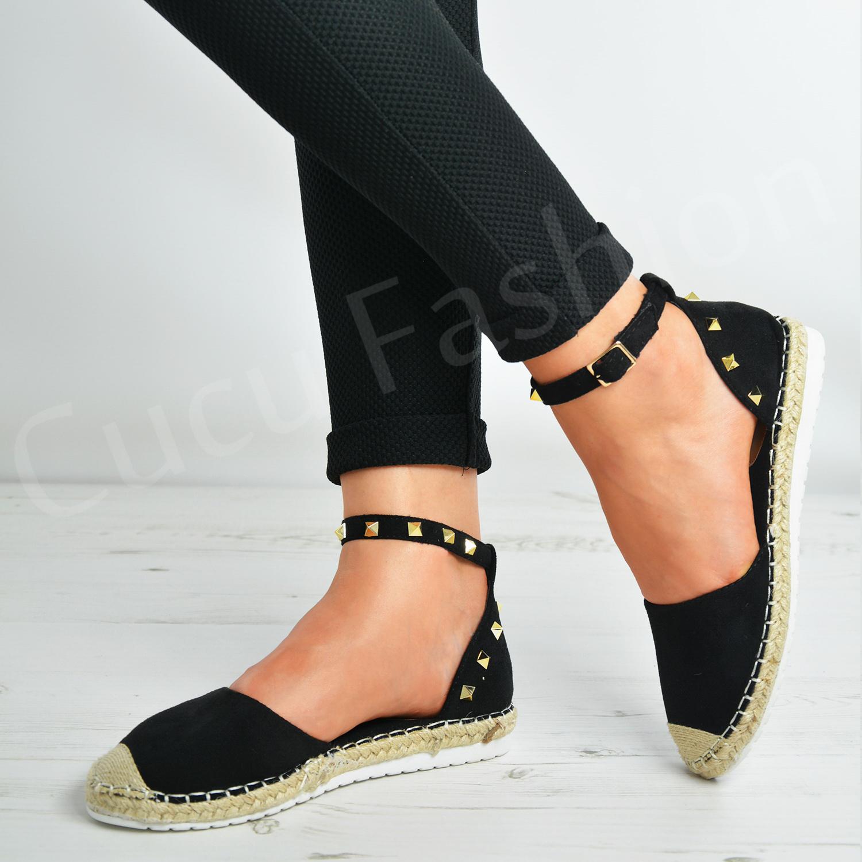 New-Womens-Rock-Studs-Espadrille-Flats-Ladies-Sandals-Ankle-Strap-Shoes-Size-Uk